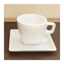 コーヒーカップ&ソーサー 白磁 スクエアーピュアホワイトコーヒーカップ/ソーサー 洋食器 業務用食器