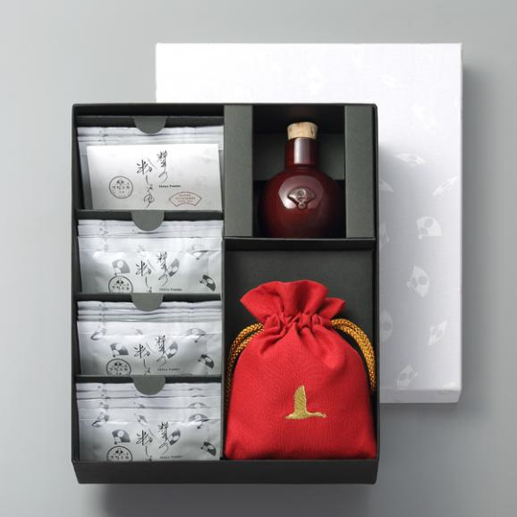 料亭の粉しょうゆギフトボックス(2g×16袋+陶器+巾着)04