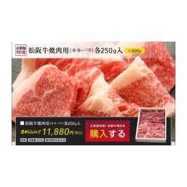 松阪牛 焼肉用(モモ肉、バラ肉)各250g入、計500g入