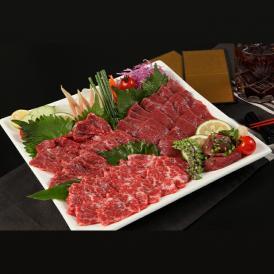 もっちりとした食感の赤身や、とろけるおいしさの霜降り、食べやすいユッケなど、おすすめの4種の馬さし