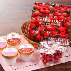 徳島県いちご農家がお届けする2種のジェラートと冷凍いちご
