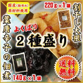 2種盛り 葉唐辛子の佃煮 140g×1袋 割り干し大根のお漬物 220g×1袋 国産野菜 佃煮 漬物 惣菜 送料無料 メール便