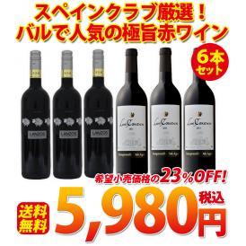【送料無料】スペインクラブ厳選!バルで人気の極旨赤ワイン6本セット
