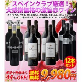 【送料無料】スペインクラブ厳選!大感謝価格の激旨赤ワイン12本セット