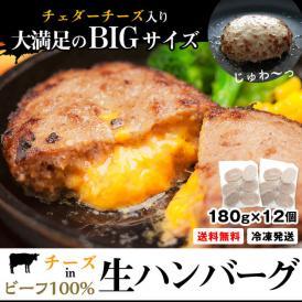 チーズイン ビーフ生ハンバーグ180g×12個 冷凍