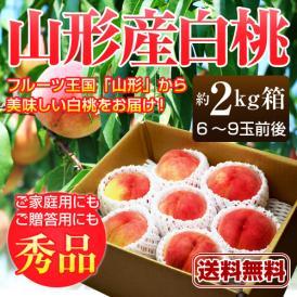 山形産 白桃 秀品 約2kg(6~9玉前後)※桃、もも、モモ、ピーチ、山形産、産地直送
