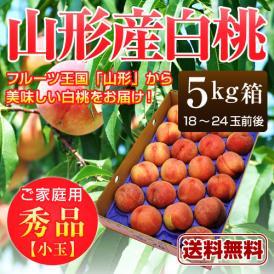 山形産 白桃 秀品 約5kg(18〜24玉前後)小玉※桃、もも、モモ、ピーチ、山形産、ギフト対応、産地直送