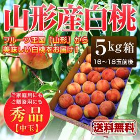 山形産 白桃 秀品 約5kg(16~18玉前後)中玉※桃、もも、モモ、ピーチ、山形産、ギフト対応、産地直送