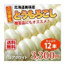 【送料無料】特別栽培農産物 北海道美瑛産フルーツとうもろこしピュアホワイト(M〜2Lサイズ)×12本(約4〜4.5kg前後)【夏ギフト】