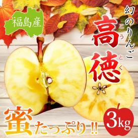 あなたの大切な方への贈り物!幻の林檎福島産 高徳りんご3kg(10〜14玉)秀品【送料無料】
