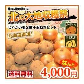 男爵芋・キタアカリ・富良野産玉ねぎ(各約4キロ)北の収穫3点セット