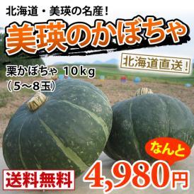 栗かぼちゃ約10kg(5~8玉) 減農薬栽培 【送料無料】北海道美瑛より直送