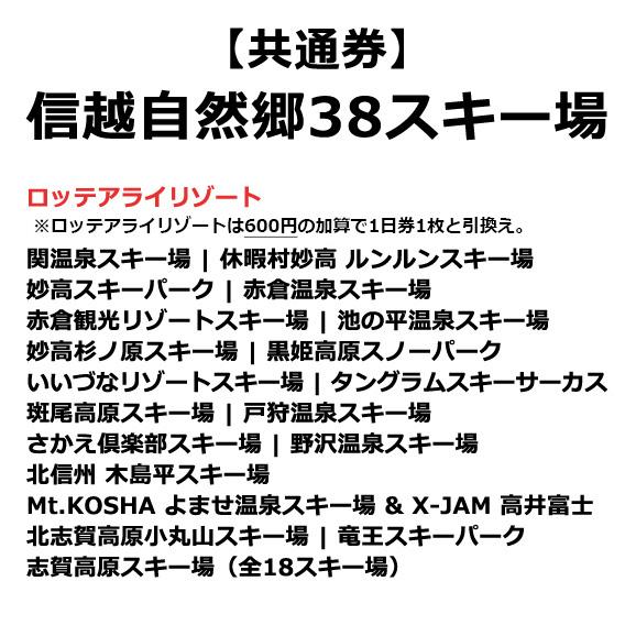 信越自然郷38スキー場共通 スーパーバリューチケット 5枚綴り <大人>01