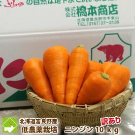 北海道富良野産 低農薬栽培 訳あり 洗い人参 10kg入り 【送料無料】日時指定不可
