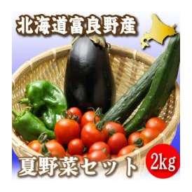 北海道富良野産 低農薬 旬の夏野菜セット(内容:トマト・キュウリ・ナス・ピーマンなど)2kg【送料無料】