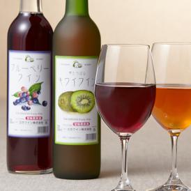 フルーティーな味わいのワインで、話題性も抜群のブルーベリーワインとキウイワインの2本セットです
