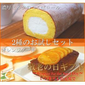 送料無料 早期割引 敬老の日ギフト 濃厚ミルクのつくばロール&オレンジケーキ2本セット