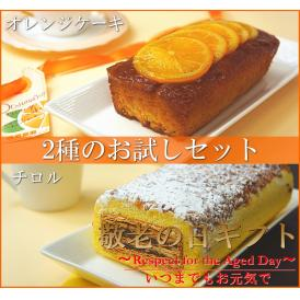 送料無料 早期割引 敬老の日ギフト オレンジケーキ&チロル2本セット