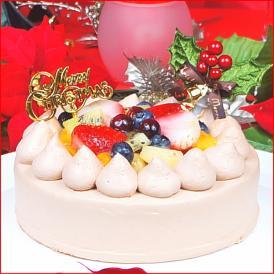 8種類ものフルーツをたっぷり敷き詰めたチョコレート生クリームのデコレーションケーキ