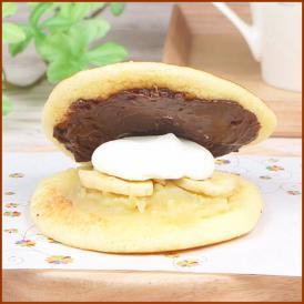 歯切れの良い皮に、チョコクリーム、生クリーム、バナナチップ、バナナあんをサンドした生どら焼き