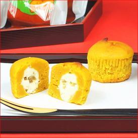 かぼちゃと白餡をあわせて焼き上げた菓子、夢かぼちゃ6個入りです。