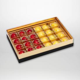 紅秀峰・月山錦の珠玉のみやび箱詰2~3Lサイズ24粒入りです。