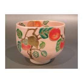 茶道具 抹茶茶碗 灰釉 柿絵、花蝶窯 手塚石雲作