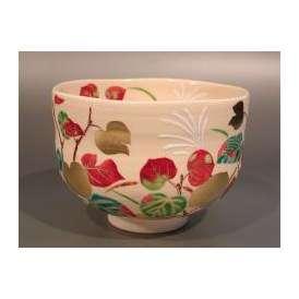 茶道具 抹茶茶碗 丸葉 楓、花蝶窯 手塚石雲作
