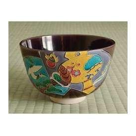 茶道具 抹茶茶碗 紫交趾 扇面(辰)、京都 中村翠嵐作