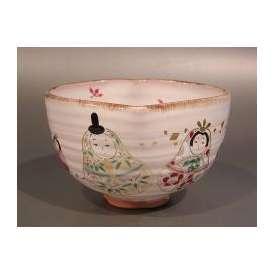 茶道具 抹茶茶碗 桃形 雛(ひな)絵、京焼 秋峰窯 中村良二作