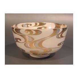 茶道具 抹茶茶碗 金銀彩 流水画、京都 相模竜泉作