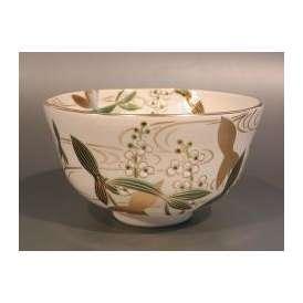 茶道具 抹茶茶碗 色絵 沢瀉(おもだか)画、京都 相模竜泉作