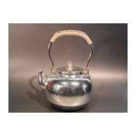 茶器・茶道具 銀瓶 石目 湯沸 銀仕上、秀峰堂作