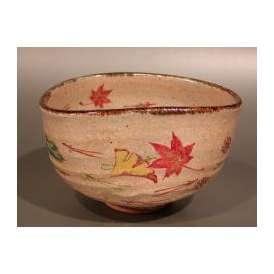 茶道具 抹茶茶碗 灰釉 吹寄(ふきよせ)絵、京焼 秋峰窯 中村良二作