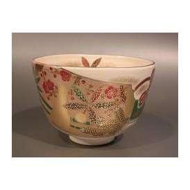 茶道具 抹茶茶碗 色絵 羽子板(はごいた)画、京都 相模竜泉作