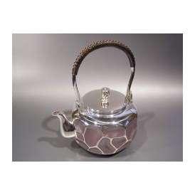 銀製茶器・茶道具 純銀製 岩目 銀瓶 大野芳光作
