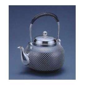 銀製茶器・茶道具 純銀製 丸型 霰(あられ)銀瓶 大野芳光作