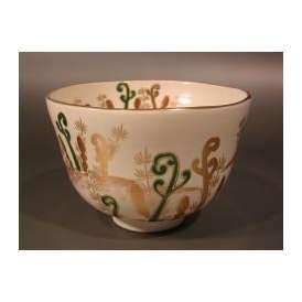 茶道具 抹茶茶碗 色絵 蕨(わらび)画、京都 相模竜泉作