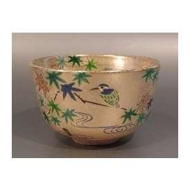 茶碗 金砂子 青楓に川蝉(かわせみ)左向き