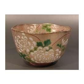 茶碗 金砂子 白菊