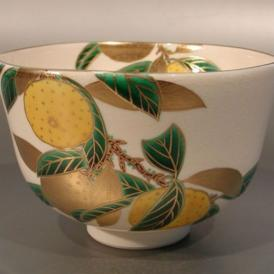 【 茶道具・抹茶茶碗 】色絵 柚子(ゆず)画、 相模竜泉作
