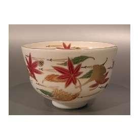 茶道具 抹茶茶碗 色絵 吹寄画、 相模竜泉作
