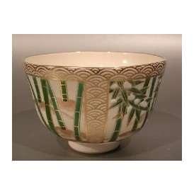 茶道具 抹茶茶碗 色絵 四季竹林雀画(限定特上品)、京焼 相模竜泉作