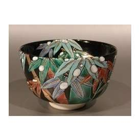 茶碗 黒釉 雪笹絵