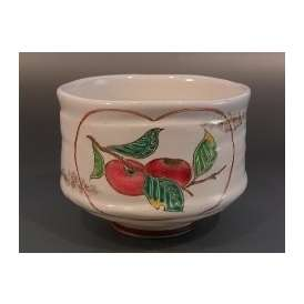 茶碗 灰釉 柿栗絵