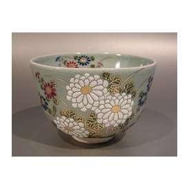 茶道具 抹茶茶碗 青磁釉 菊画、 京焼 相模竜泉作【 完売 】