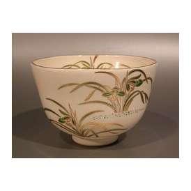 茶道具 抹茶茶碗 色絵 春蘭画(S)、 京都 相模竜泉作