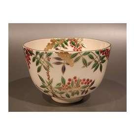 茶道具 抹茶茶碗 色絵 南天(なんてん)画、相模竜泉作