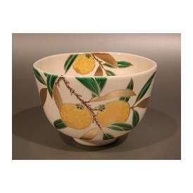 茶道具 抹茶茶碗 色絵 柚子(ゆず)画、