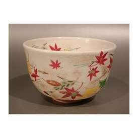 茶道具 抹茶茶碗 粉引 吹寄(ふきよせ)絵、